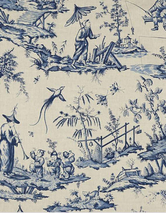 Shengyou Toile in indigo // Schumacher 125 Anniversary Fabrics #chinoiserie