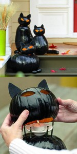 black cat pumpkins // halloween decorating ideas #cats