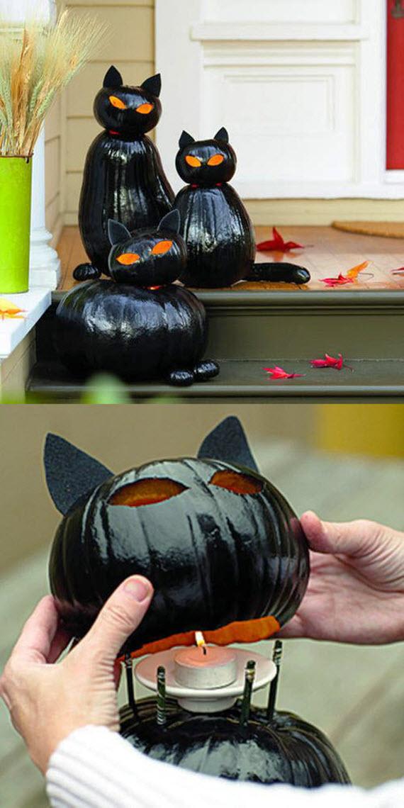 black cat pumpkins // halloween decorating ideas #cats