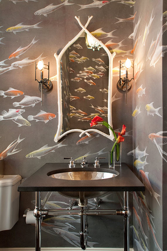 bathroom with koi fish wallpaper // de gournay // simplified bee