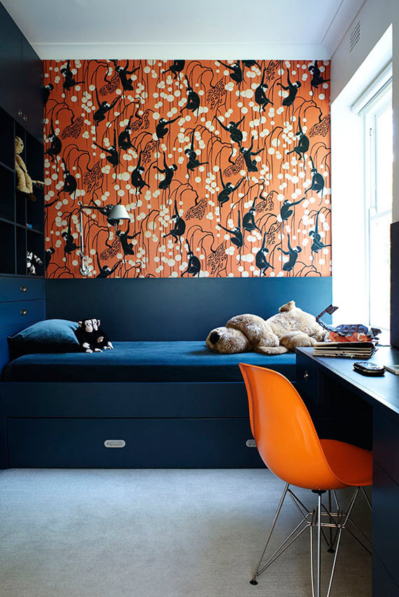 boy's room with deco monkeys wallpaper // de gournay // simplified bee