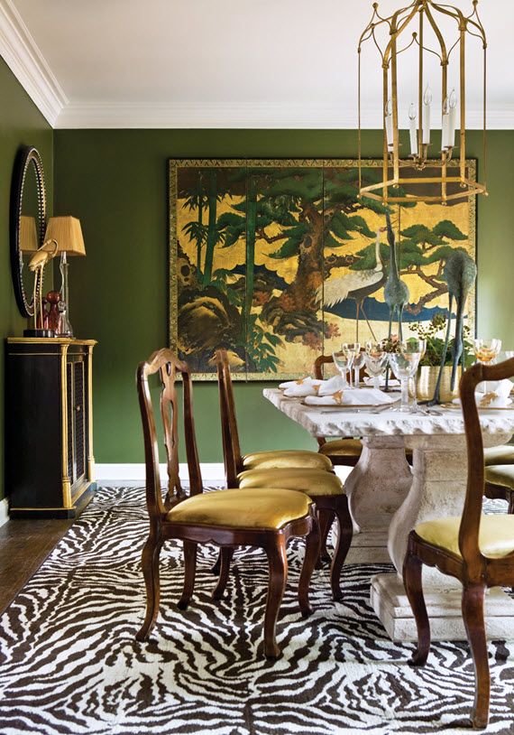 olive green decor // dining room