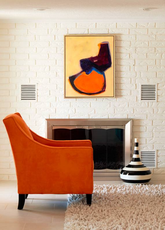 orange chair // living room // tobi fairley deisng