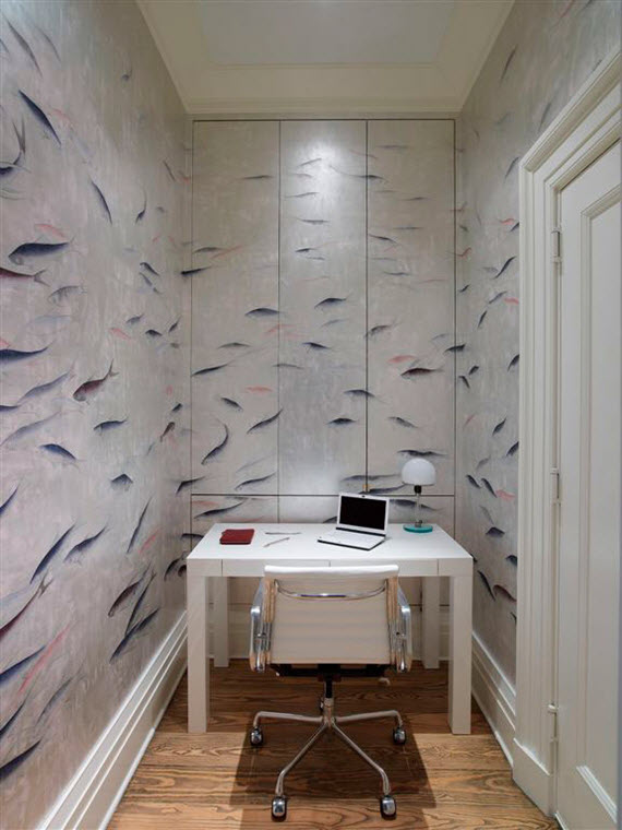 workspace // silver fish wallpaper // de gournay // simplified bee