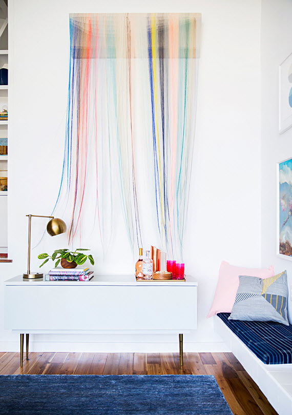 colorful string wall art // Emily Henderson's home // Domino