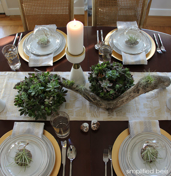 Vintage gold and white holiday table setting with Target simplified bee blog TargetStyle