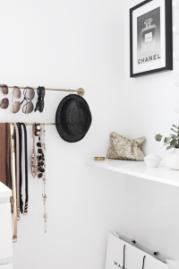 black & white closet // organized accessories #closet