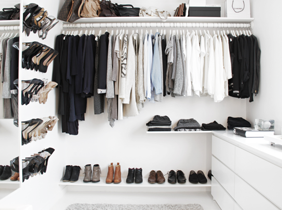 black and white closet using Ikea // walk-in closet