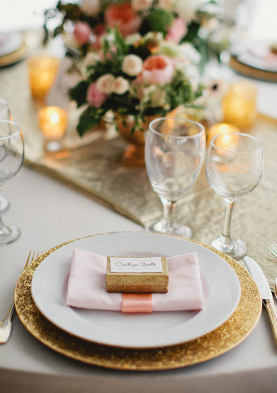 soft pink and gold holiday table setting - Simplified Bee