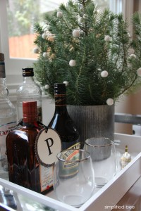 holiday bar with tiny pine tree // simplified bee #holiday #entertaining