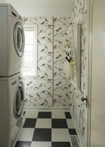 laundry room // whimsical bird wallpaper