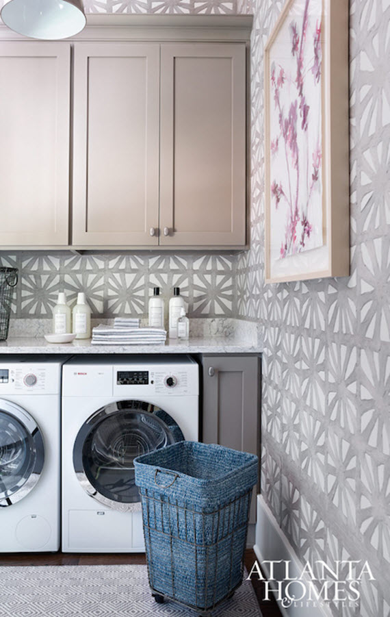 laundry room with gray wallpaper