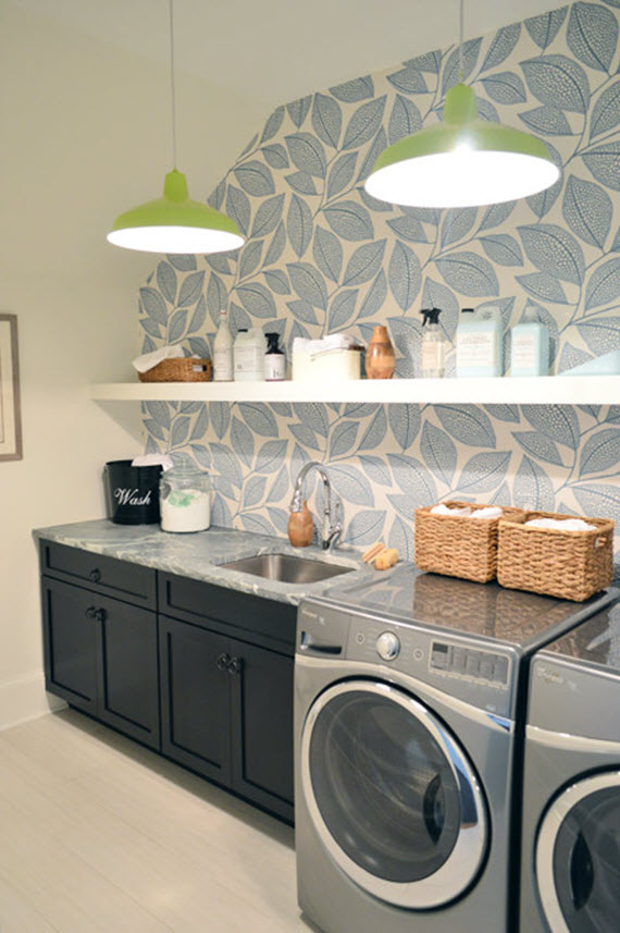 laundry room with blue and white wallpaper