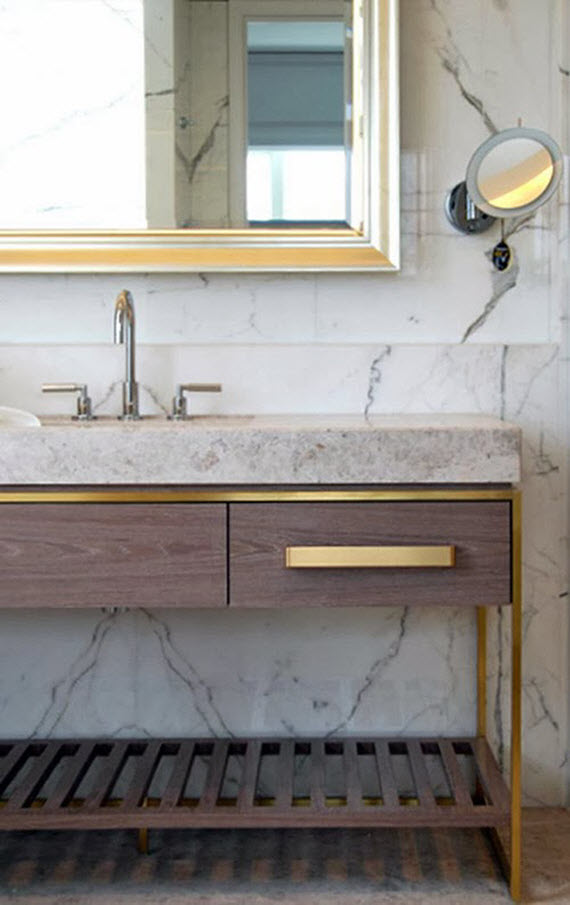 bathroom // carerra marble & brass hardware