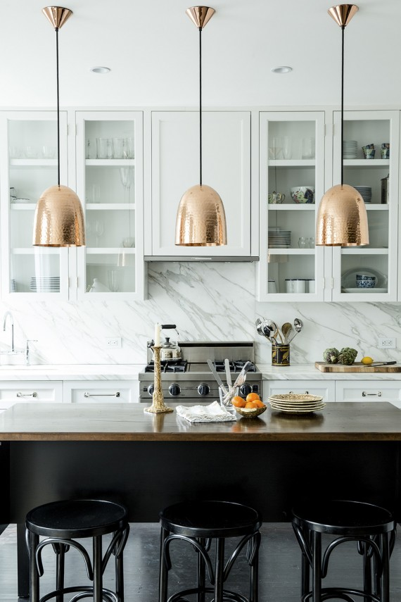 copper pendants // kitchen // lonny