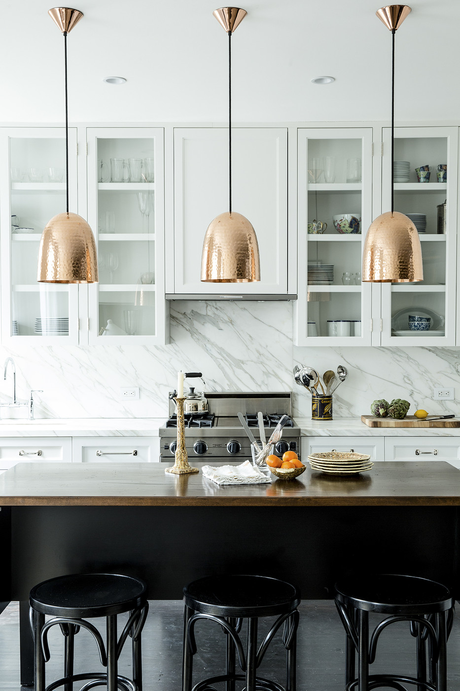 copper pendants kitchen lonny - Copper Home Decor