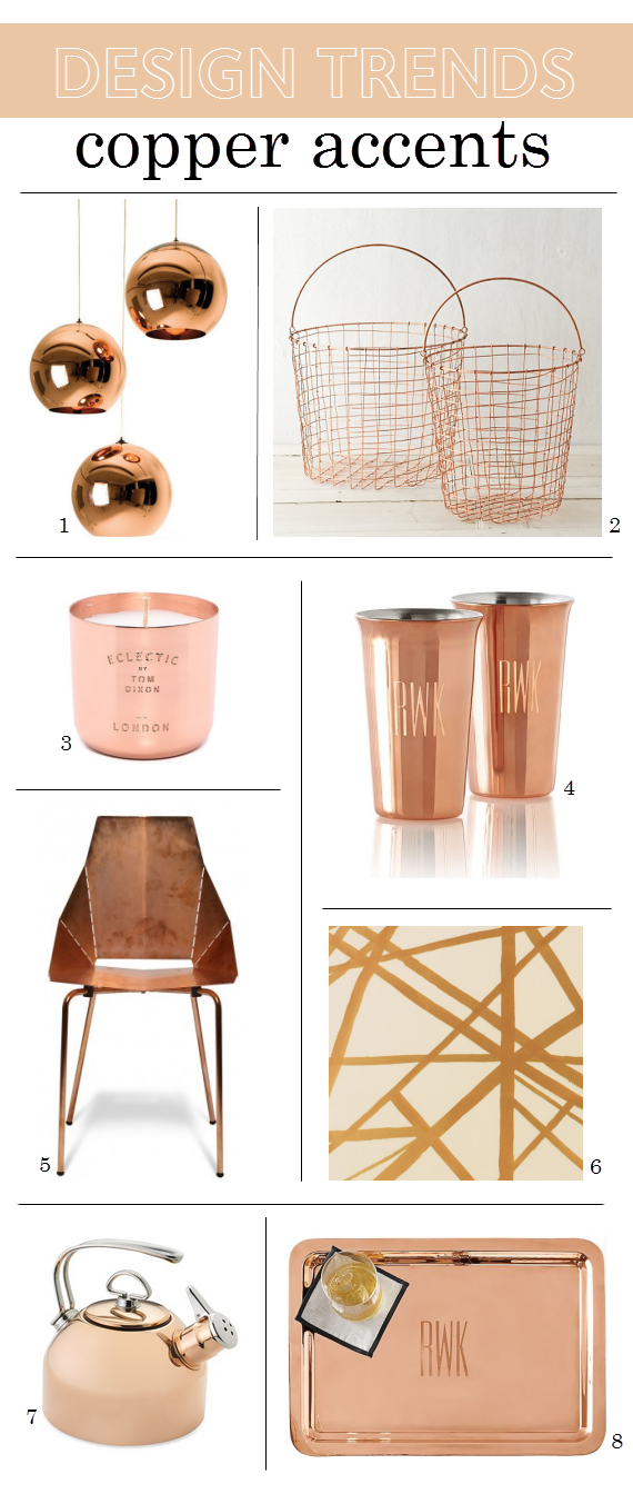 2015 design trends copper home accents - Home Decor Accents