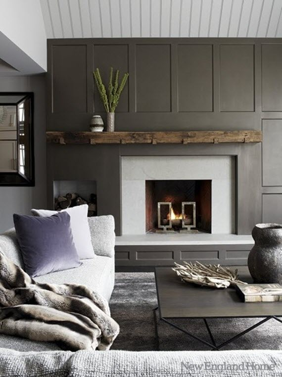 gray living room // new england home