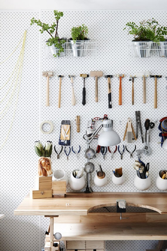 organized workbench pegboard // clutter-free living