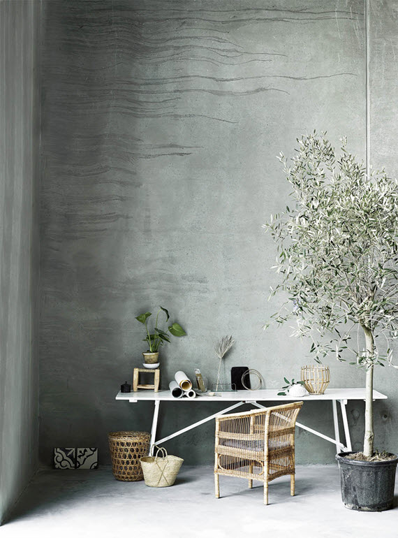 textured concrete walls