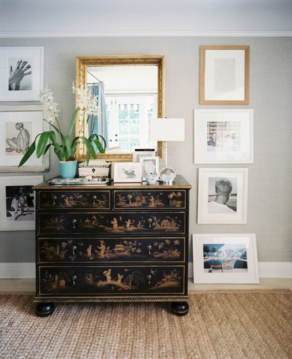 orchid, artwork & chinoiserie chest
