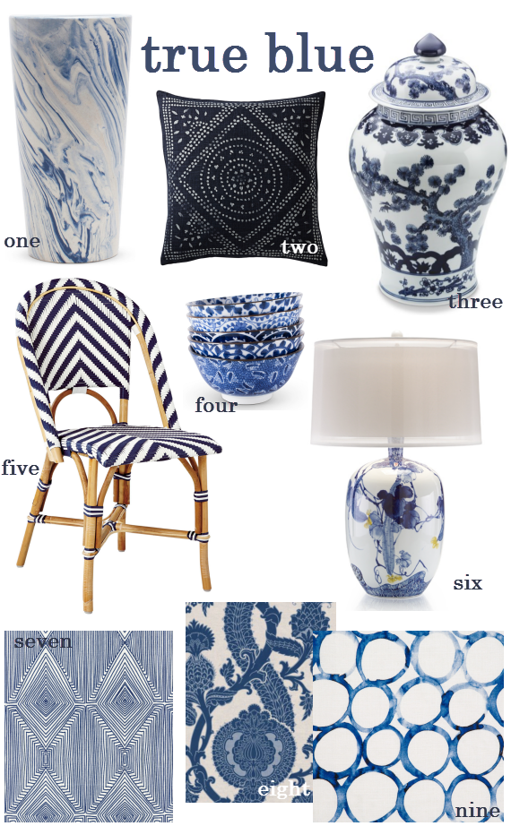 color crush // blue and white decor