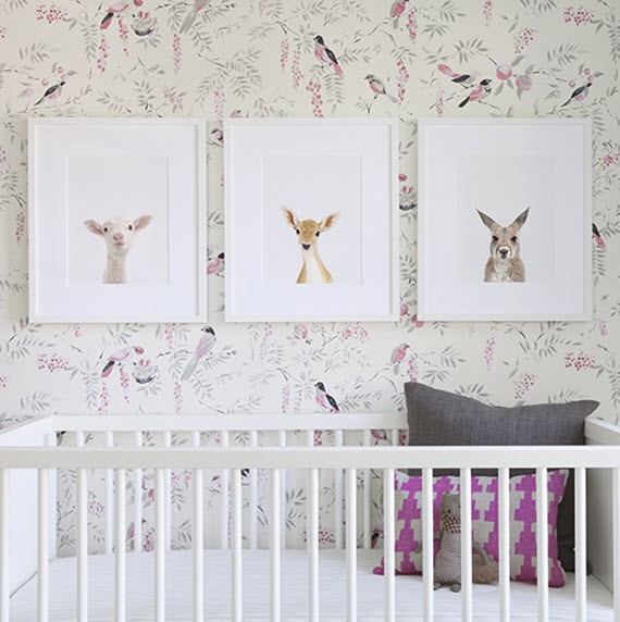 girls nursery // bird wallpaper // The Animal Print Shop