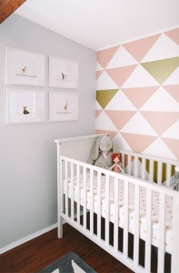 girl's nursery room // triangle accent wall in pink