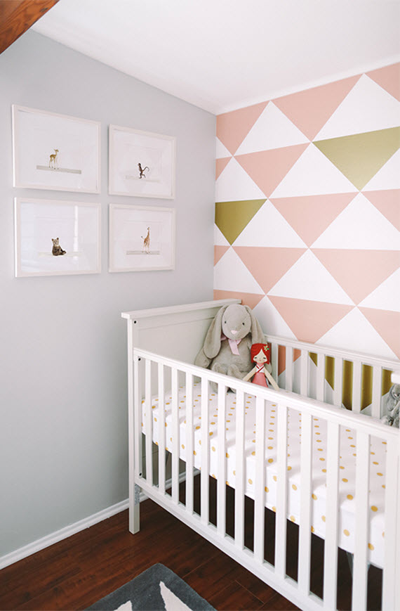 S Nursery Room Triangle Accent Wall In Pink