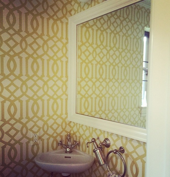 Powder Room with Trellis Wallpaper in citron // Cristin Bisbee Priest // Simplified Bee