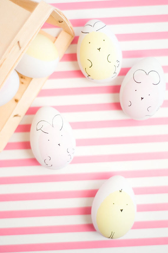chick & bunny Easter eggs #diy