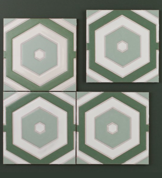 green-blue hexagon tile