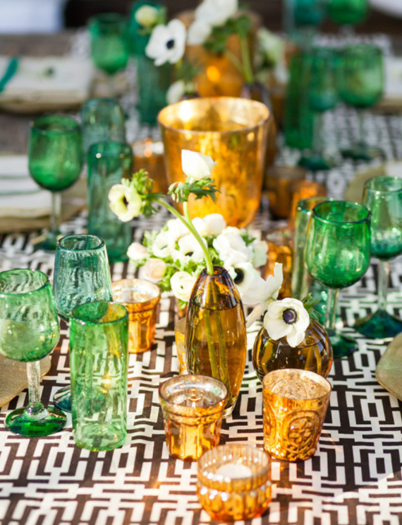 green glassware // table setting