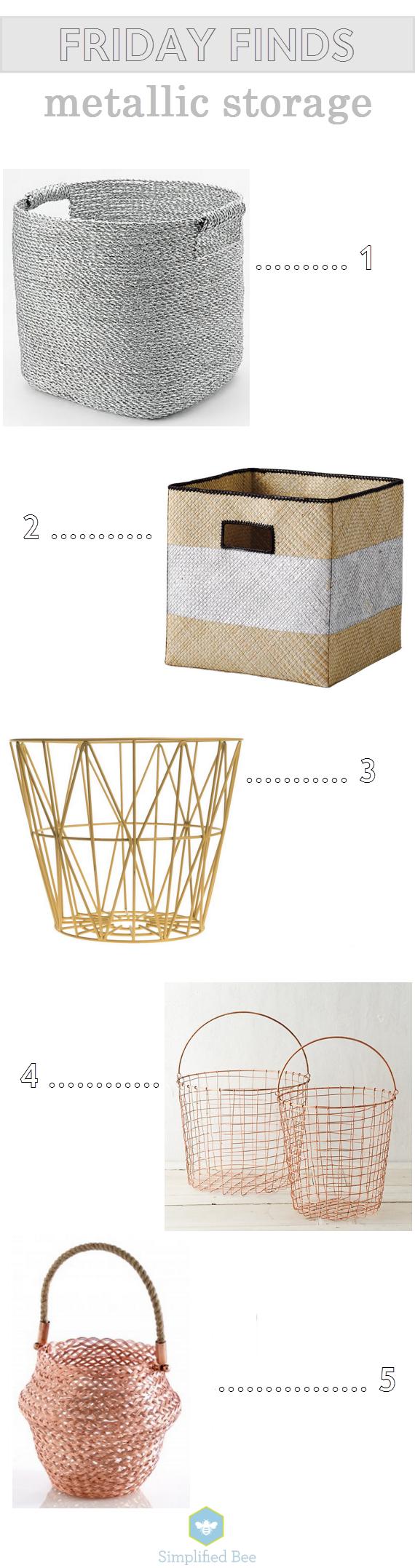 metallic storage bins & baskets // simplifiedbee.com
