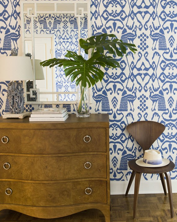 blue & white wallpaper // entry // JK Kling Associates