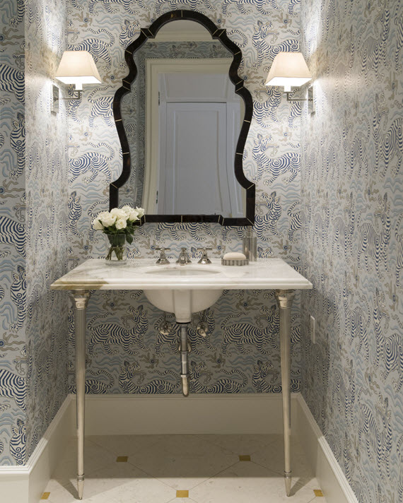 Gracious interiors a place to powder your nose - Powder room wallpaper ideas ...