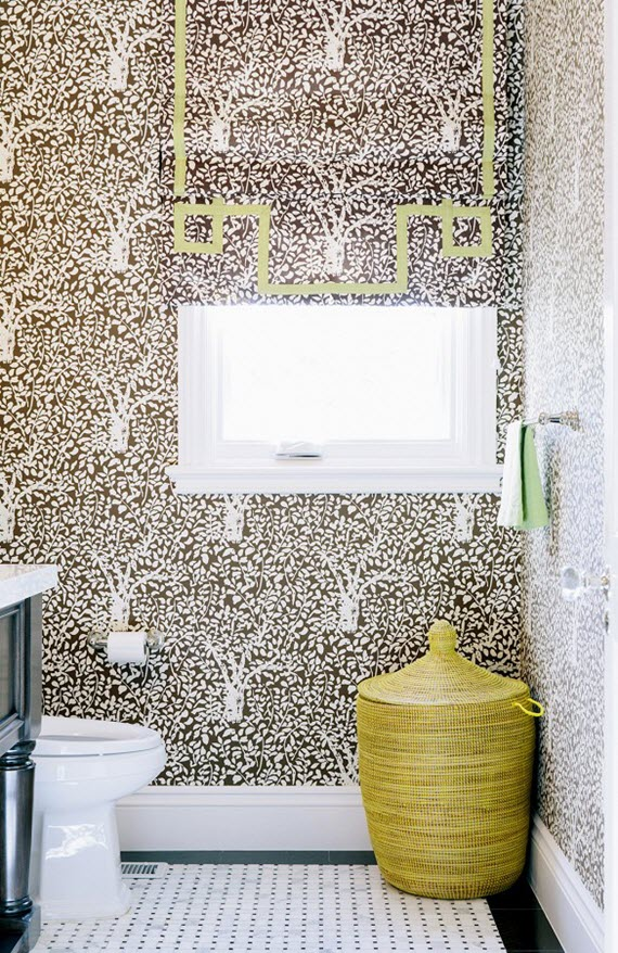 bathroom // brown & white wallpaper // chloe warner