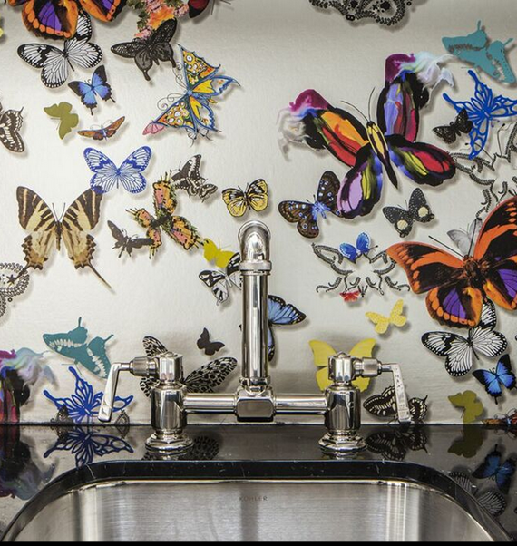 Laundry Room // Christian Lacroix Butterfly Wallpaper // San Francisco Decorator Showcase 2015
