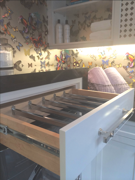 Laundry Room // Custom Drying Rack Drawer // Evars + Anderson Interior Design
