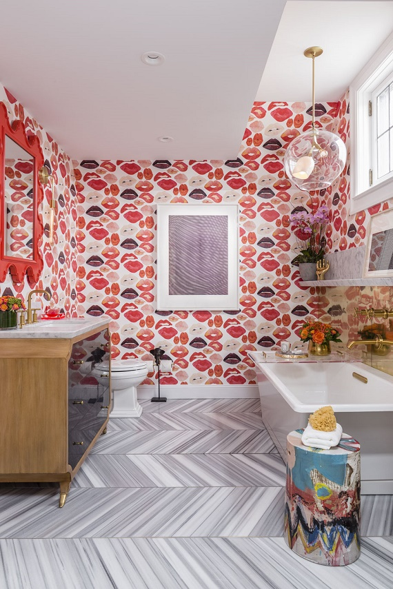 girl's bathroom // lipstick wallpaper // SF Decorator Showcase // Nest Design Co