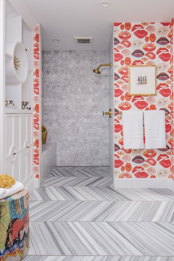 girl's bathroom // marble herringbone flooring // SF Decorator Showcase // Nest Design Co