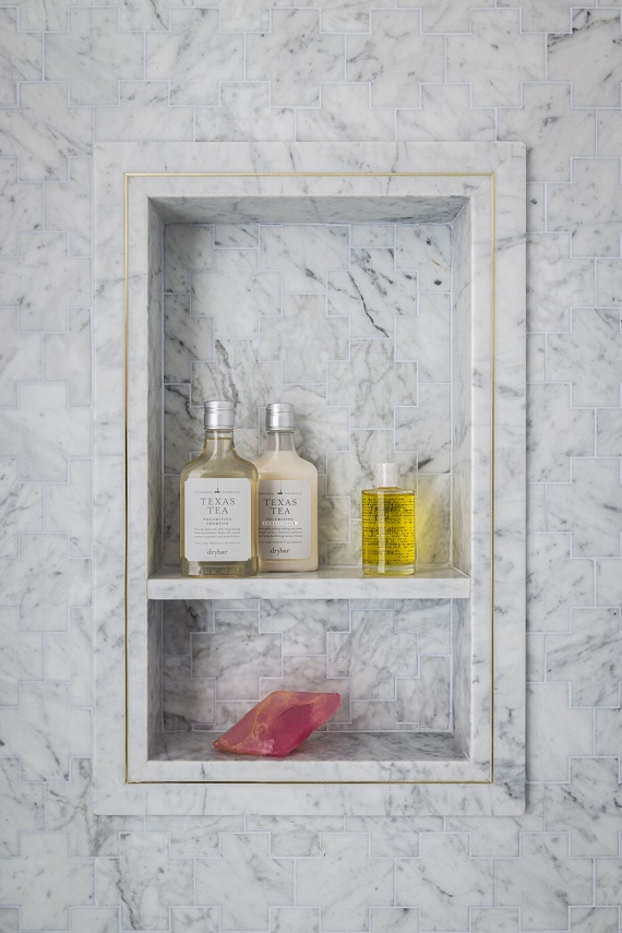 girl's bathroom // marble shower niche // SF Decorator Showcase // Nest Design Co