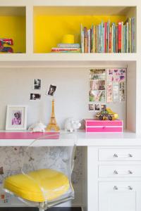 butterfly girls bedroom with built-in desk // Nicole Hollis // Lonny