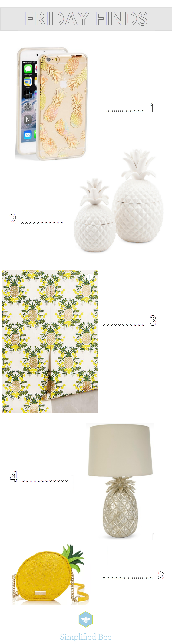 pineapple decor // friday finds// simplifiedbee.com