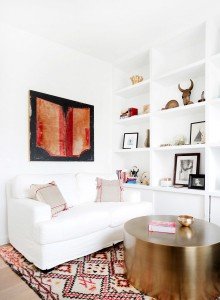 round brass coffee table // seating area // maggie pierson
