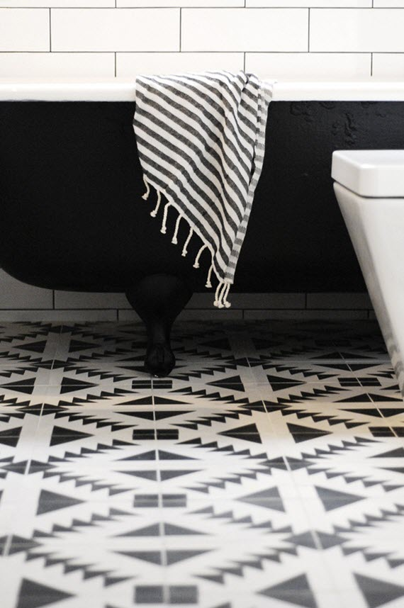black white southwest modern tile floor bathroom