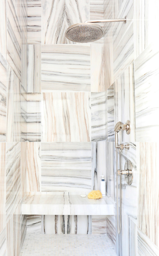 square marble tiled shower // maggie pierson