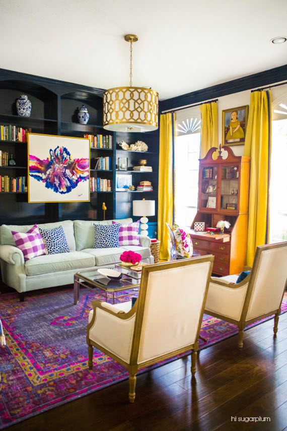 colorful living room // hi sugarplum // via @simplifiedbee