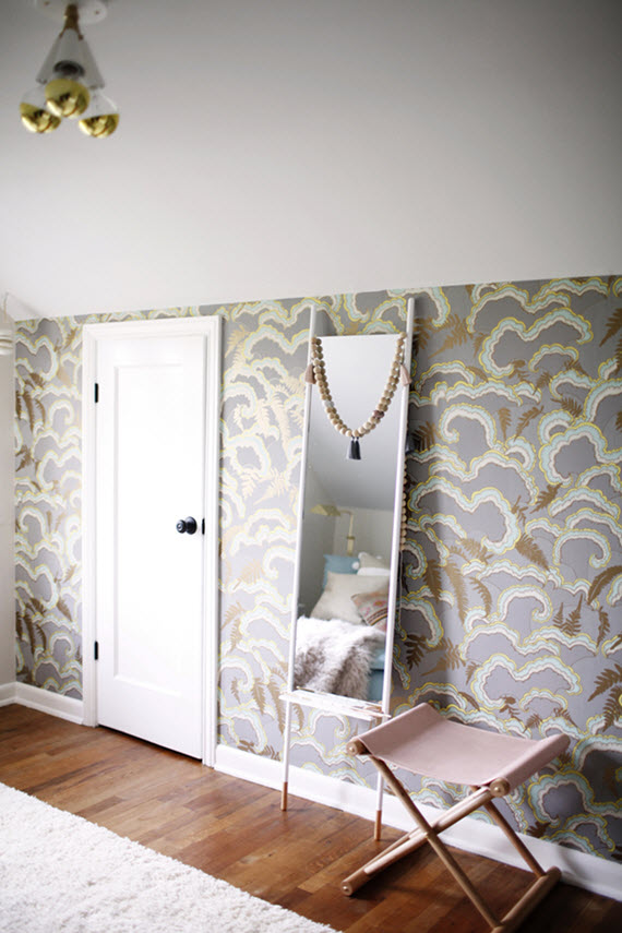 statement wallpaper // dressing room // coco + kelley
