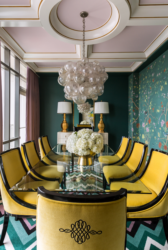 pink ceiling // dining room // tobi fairley